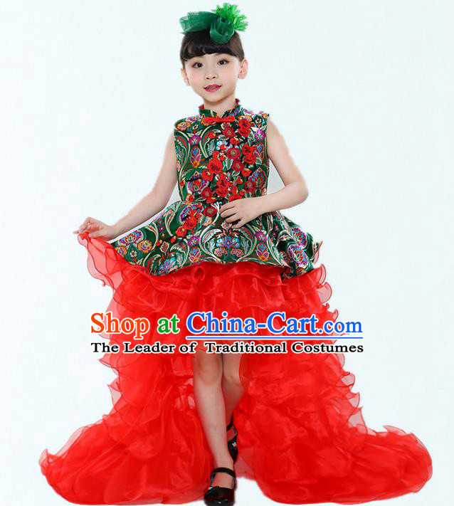 Top Grade Chinese Compere Professional Performance China Style Catwalks Costume, Children Chorus Red Cheongsam Formal Dress Modern Dance Baby Princess Long Trailing Dress for Girls Kids
