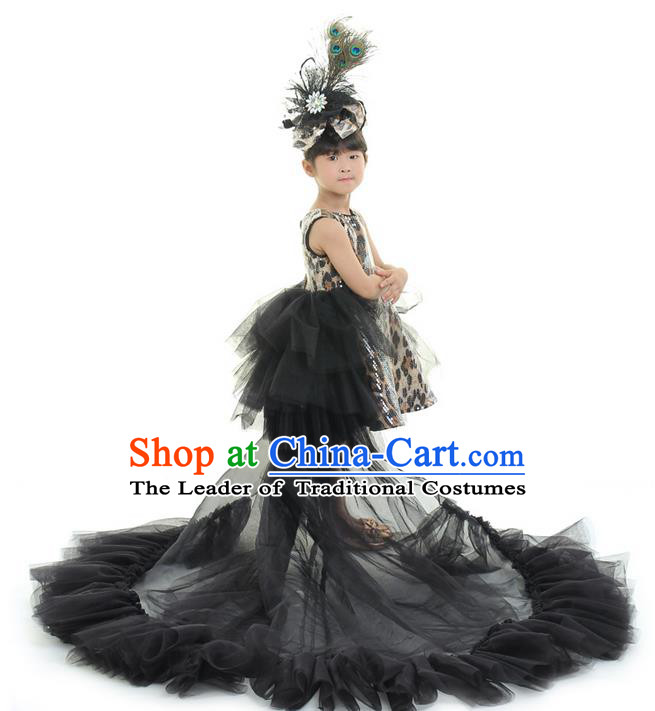 Top Grade Chinese Compere Professional Performance Catwalks Costume, Children Chorus Black Leopard Formal Dress Modern Dance Baby Princess Long Trailing Dress for Girls Kids