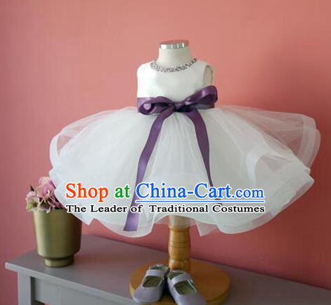 Top Grade Chinese Compere Professional Performance Catwalks Costume, Children Chorus White Veil Bubble Formal Dress Modern Dance Baby Princess Short Dress for Girls Kids