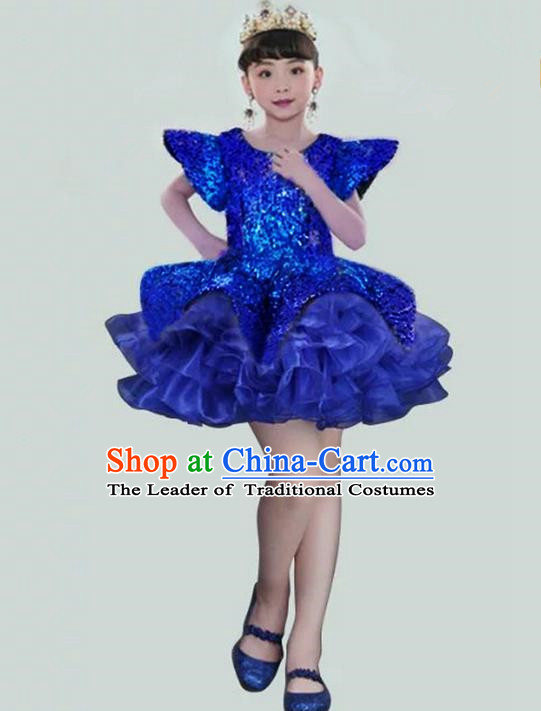 Top Grade Compere Professional Performance Catwalks Costume, Children Chorus Blue Paillette Bubble Formal Dress Modern Dance Baby Princess Short Dress for Girls Kids
