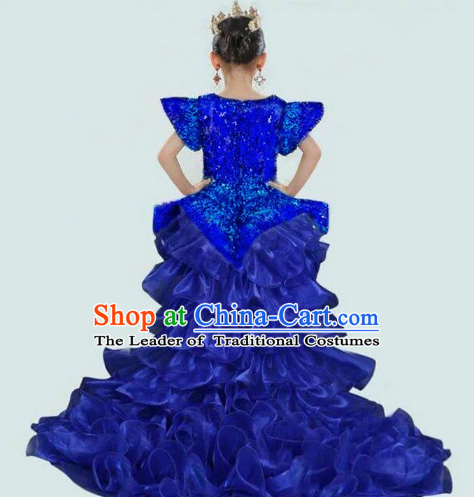 Top Grade Compere Professional Performance Catwalks Costume, Children Chorus Blue Paillette Bubble Formal Dress Modern Dance Baby Princess Long Trailing Dress for Girls Kids