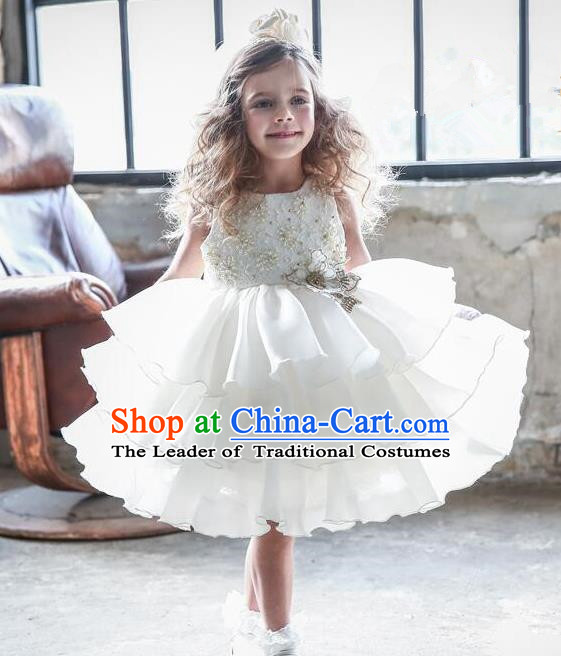 Top Grade Compere Professional Performance Catwalks Costume, Children Chorus White Beads Multilayer Veil Bubble Formal Dress Modern Dance Baby Princess Short Dress for Girls Kids