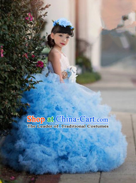 Top Grade Compere Professional Performance Catwalks Costume, Children Chorus Blue Multilayer Veil Bubble Formal Dress Modern Dance Baby Princess Big Swing Long Dress for Girls Kids