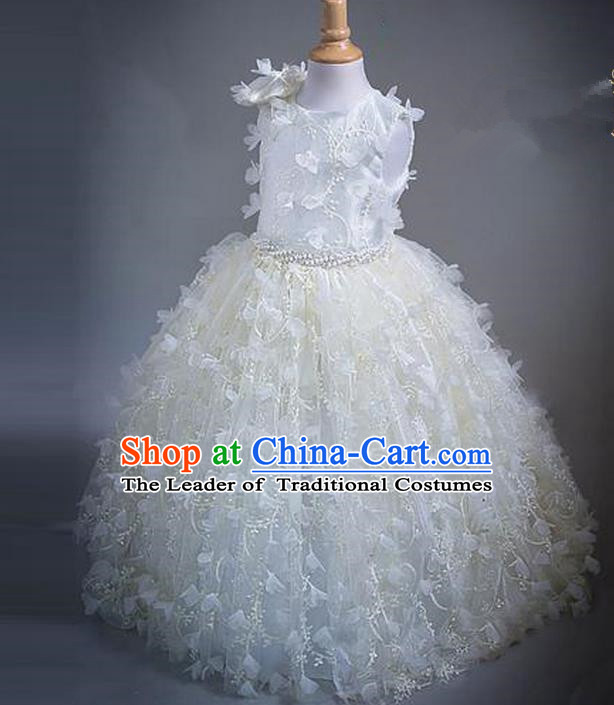 Top Grade Compere Professional Performance Catwalks Costume, Children Chorus White Bowknot Veil Bubble Formal Dress Modern Dance Baby Princess Big Swing Long Dress for Girls Kids