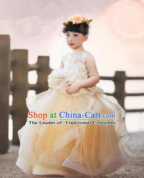 Top Grade Compere Professional Performance Catwalks Costume, Children Chorus Golden Flowers Multilayer Veil Bubble Formal Dress Modern Dance Baby Princess Big Swing Long Dress for Girls Kids