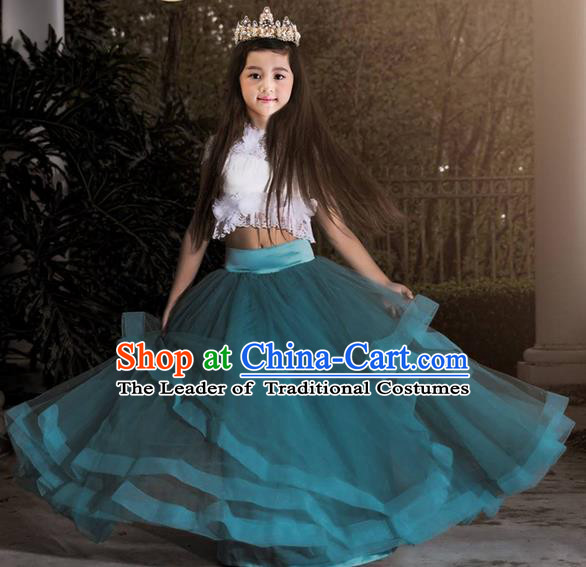 Top Grade Compere Professional Performance Catwalks Costume, Children Chorus Blue Lace Multilayer Veil Bubble Formal Dress Modern Dance Baby Princess Big Swing Long Dress for Girls Kids