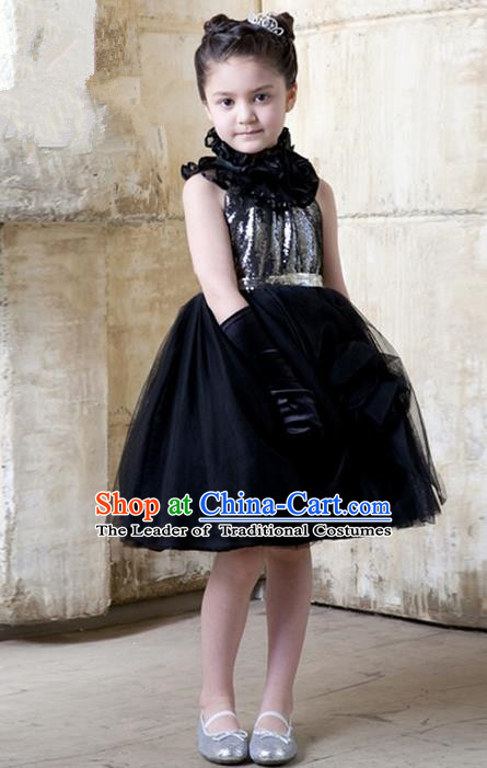 Top Grade Compere Professional Performance Catwalks Costume, Children Chorus Black Bubble Formal Dress Modern Dance Baby Princess Short Ball Gown Dress for Girls Kids