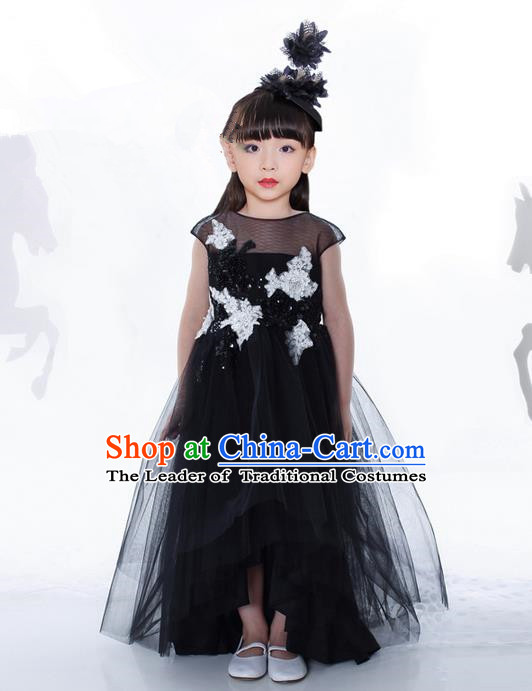Top Grade Compere Professional Performance Catwalks Costume, Children Chorus Black Paillette Bubble Formal Dress Modern Dance Baby Princess Ball Gown Long Dress for Girls Kids