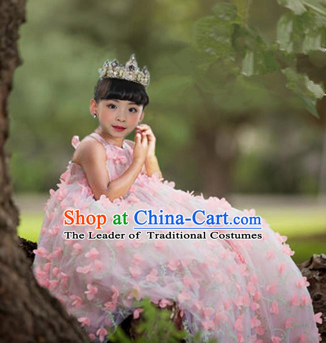 Top Grade Compere Professional Performance Catwalks Costume, Children Chorus Pink Flower Fairy Bubble Formal Dress Modern Dance Baby Princess Ball Gown Long Dress for Girls Kids