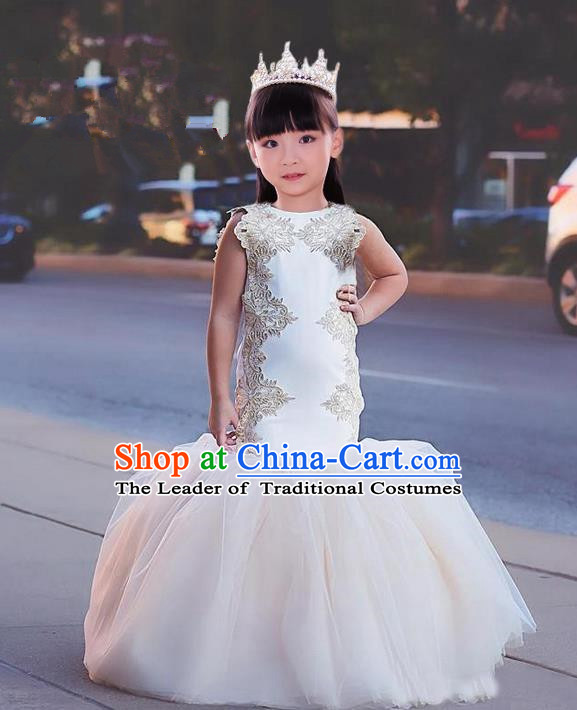 Top Grade Compere Professional Performance Catwalks Costume, Children Chorus White Fishtail Formal Dress Modern Dance Baby Princess Ball Gown Long Mermaid Dress for Girls Kids