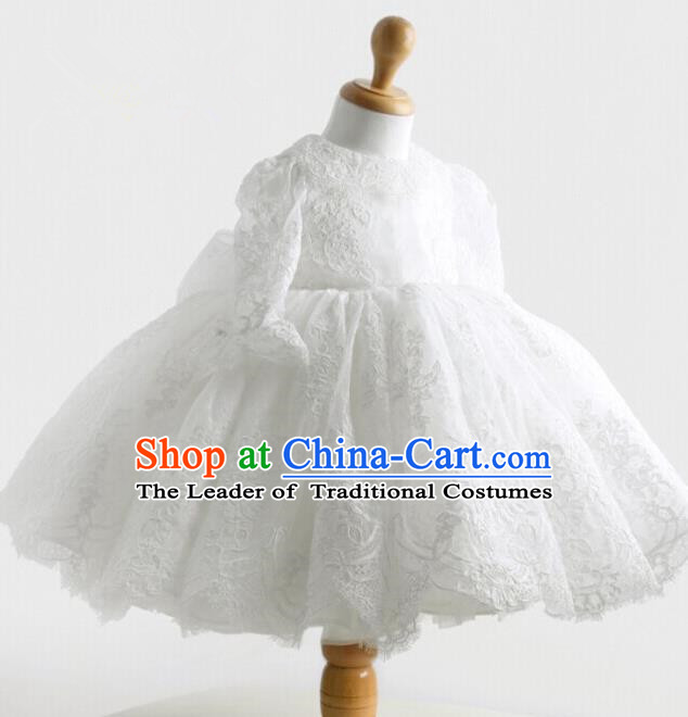 Top Grade Compere Professional Performance Catwalks Costume, Children Chorus Embroidery White Formal Bubble Dress Modern Dance Baby Princess Ball Gown Short Dress for Girls Kids