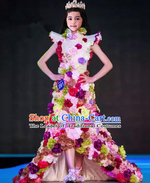 Top Grade Compere Professional Performance Catwalks Costume, Children Chorus Flower Fairy Formal Dress Modern Dance Baby Princess Ball Gown Long Trailing Dress for Girls Kids
