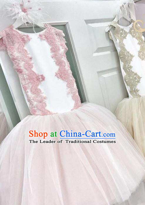 Top Grade Compere Professional Performance Catwalks Costume, Children Chorus Pink Fishtail Formal Dress Modern Dance Baby Princess Ball Gown Long Mermaid Dress for Girls Kids