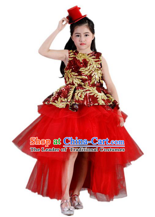 Top Grade Compere Professional Performance Catwalks Costume, Children Chorus Red Formal Bubble Dress Modern Dance Baby Princess Ball Gown Trailing Short Dress for Girls Kids