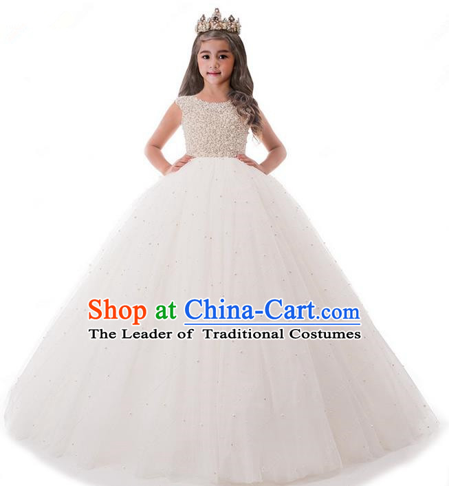 Top Grade Compere Professional Performance Catwalks Costume, Children Chorus White Pearl Formal Dress Modern Dance Baby Princess Ball Gown Trailing Dress for Girls Kids