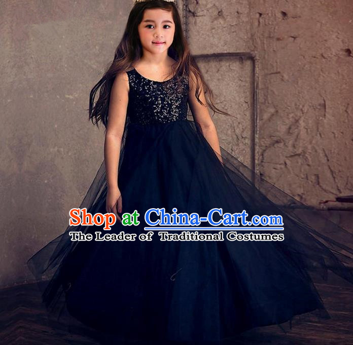 Top Grade Compere Professional Performance Catwalks Costume, Children Chorus Black Formal Dress Modern Dance Baby Princess Ball Gown Trailing Dress for Girls Kids