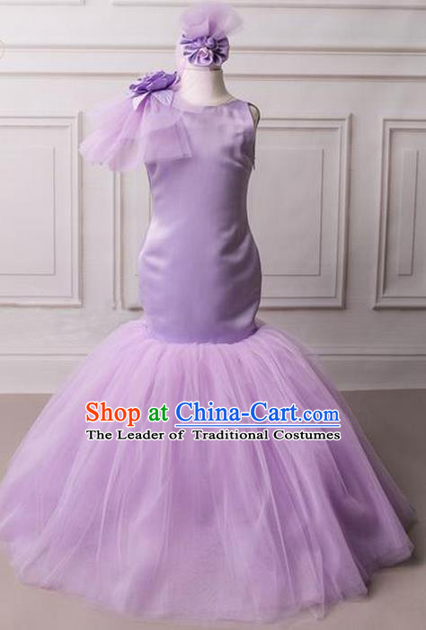 Top Grade Compere Professional Performance Catwalks Costume, Children Chorus Purple Flowers Fishtail Formal Dress Modern Dance Baby Princess Long Mermaid Dress for Girls Kids