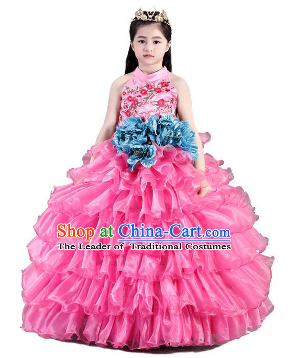 Top Grade Compere Professional Performance Catwalks Costume, Children Chorus Pink Bubble Wedding Formal Dress Modern Dance Baby Princess Ball Gown Long Dress for Girls Kids