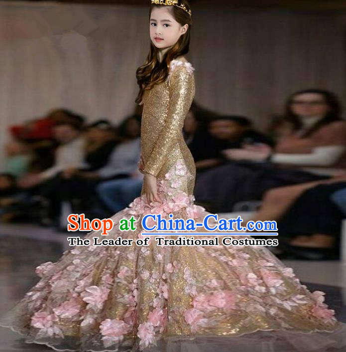Top Grade Compere Professional Performance Catwalks Costume, Children Chorus Golden Fishtail Wedding Formal Dress Modern Dance Baby Princess Mermaid Ball Gown Long Dress for Girls Kids