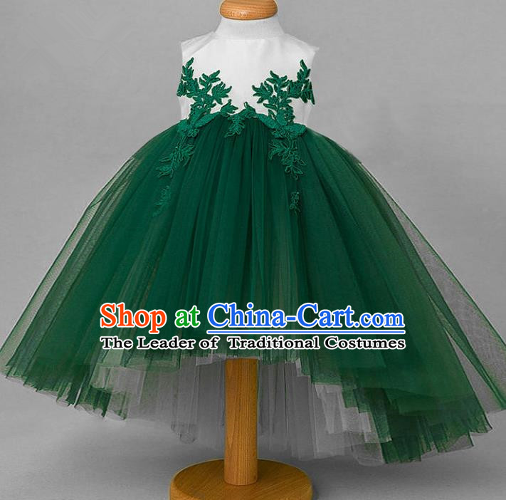 Top Grade Compere Professional Performance Catwalks Costume, Children Chorus Green Veil Wedding Formal Bubble Lace Dress Modern Dance Baby Princess Ball Gown Dress for Girls Kids