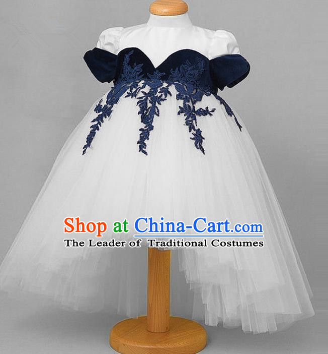 Top Grade Compere Professional Performance Catwalks Costume, Children Chorus White Veil Wedding Formal Bubble Lace Dress Modern Dance Baby Princess Ball Gown Dress for Girls Kids