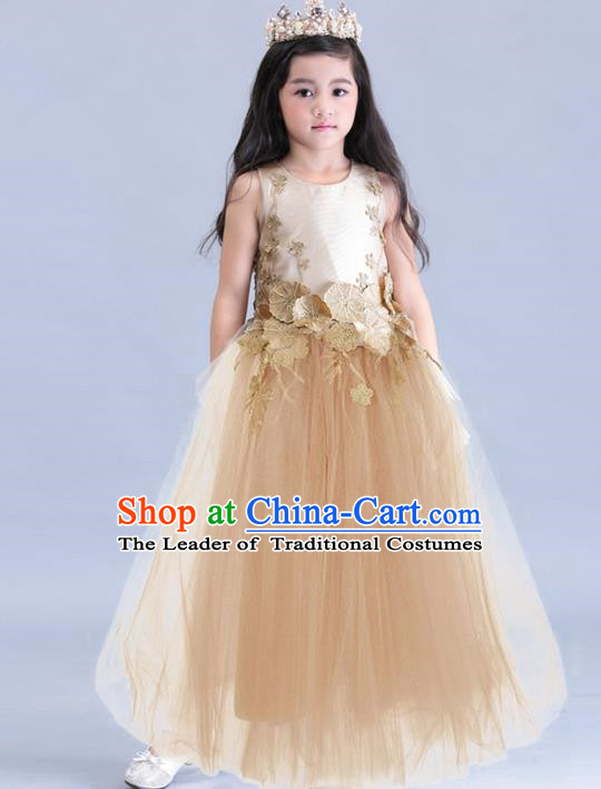 Top Grade Compere Professional Performance Catwalks Costume, Children Chorus Champagne Veil Wedding Formal Bubble Dress Modern Dance Baby Princess Ball Gown Long Dress for Girls Kids