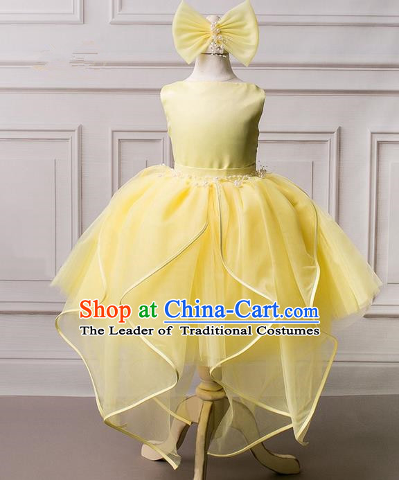 Top Grade Compere Professional Performance Catwalks Costume, Children Chorus Yellow Wedding Veil Formal Bubble Dress Modern Dance Baby Princess Ball Gown Short Dress for Girls Kids