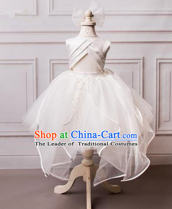 Top Grade Compere Professional Performance Catwalks Costume, Children Chorus White Wedding Veil Formal Bubble Dress Modern Dance Baby Princess Ball Gown Short Dress for Girls Kids