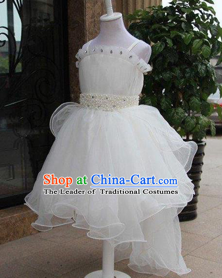 Top Grade Professional Compere Performance China Style Catwalks Costume, Children Chorus Singing Group White Bubble Full Dress Modern Dance Short Dress for Girls Kids