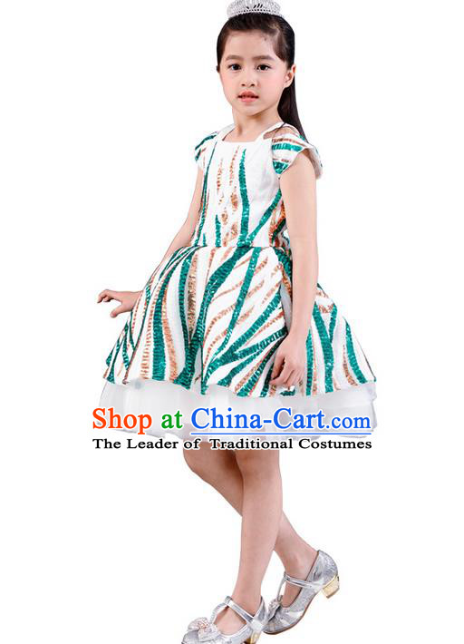 Top Grade Professional Compere Performance Catwalks Costume, Children Chorus Singing Group Green Paillette Bubble Full Dress Modern Dance Short Dress for Girls Kids
