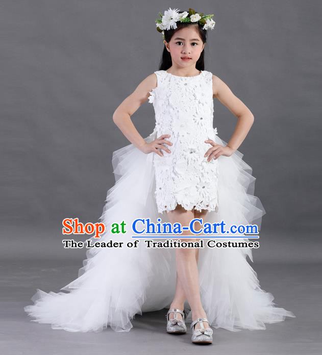 Top Grade Compere Professional Performance Catwalks Costume, Children Chorus White Lace Formal Dress Modern Dance Baby Princess Long Trailing Dress for Girls Kids