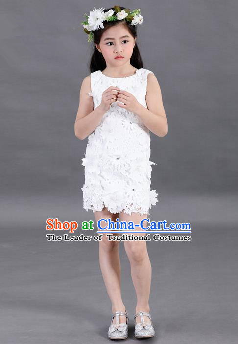 Top Grade Compere Professional Performance Catwalks Costume, Children Chorus White Lace Formal Dress Modern Dance Baby Princess Short Dress for Girls Kids