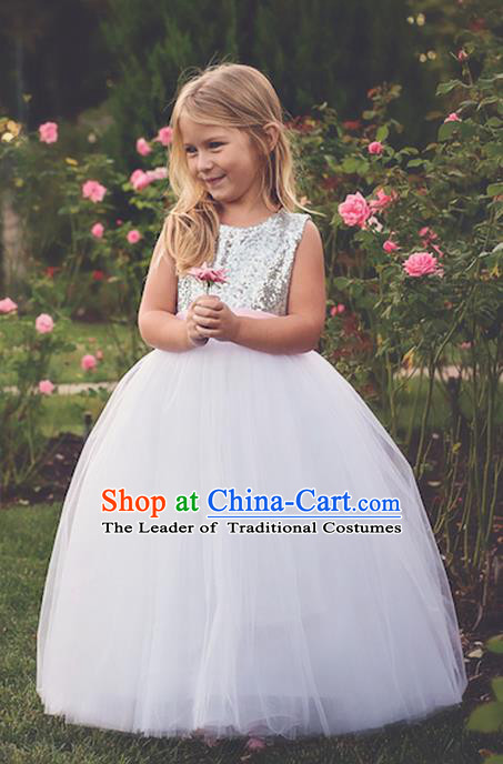 Top Grade Compere Professional Performance Catwalks Costume, Children Chorus White Bubble Bowknot Wedding Veil Formal Dress Modern Dance Baby Princess Ball Gown Long Trailing Dress for Girls Kids