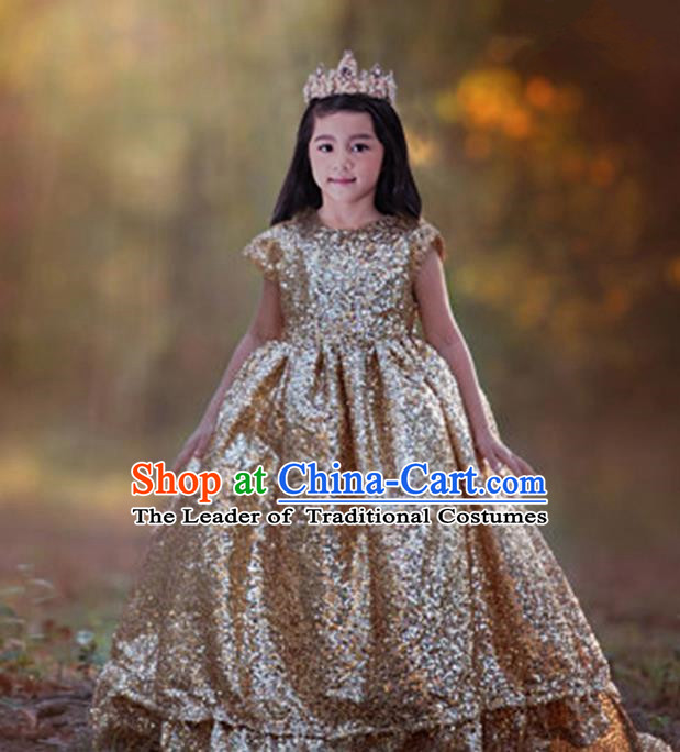 Top Grade Compere Professional Performance Catwalks Costume, Children Chorus Flower Fairy Gold Big Swing Wedding Veil Embroidery Formal Dress Modern Dance Baby Princess Ball Gown Long Trailing Dress for Girls Kids