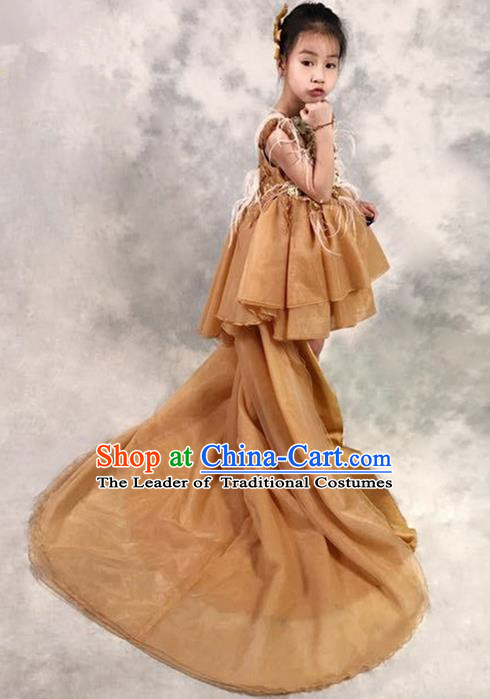 Top Grade Compere Professional Performance Catwalks Costume, Children Chorus Ostrich Feather Wedding Veil Formal Dress Modern Dance Baby Princess Ball Gown Long Trailing Dress for Girls Kids