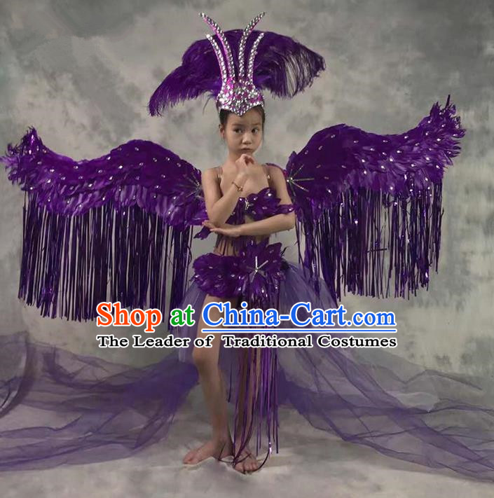 Top Grade Compere Professional Performance Catwalks Costume and Headwear Complete Set, Children Chorus Purple Formal Dress With Wings Modern Dance Baby Princess Long Trailing Dress for Girls Kids