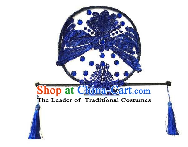 Top Grade Handmade China Style Classical Hair Accessories, Children Blue and White Porcelain Manchu Princess Royal Crown Lace Hair Clasp Hats for Kids Girls