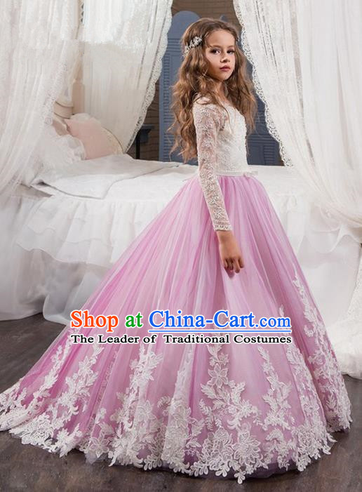 Top Grade Compere Professional Performance Catwalks Costume, Children Chorus Flower Fairy Wedding Formal Dress Modern Dance Baby Princess Ball Gown Long Trailing Dress for Girls Kids
