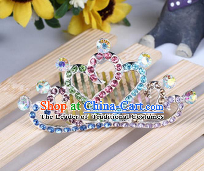 Top Grade Handmade Classical Hair Accessories, Children Baroque Style Colorized Crystal Baby Princess Little Alloy Heart-shaped Royal Crown Twist Inserted Comb Hair Comb Jewellery for Kids Girls