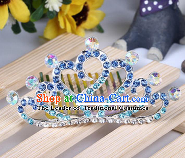 Top Grade Handmade Classical Hair Accessories, Children Baroque Style Blue Crystal Baby Princess Little Alloy Heart-shaped Royal Crown Twist Inserted Comb Hair Comb Jewellery for Kids Girls