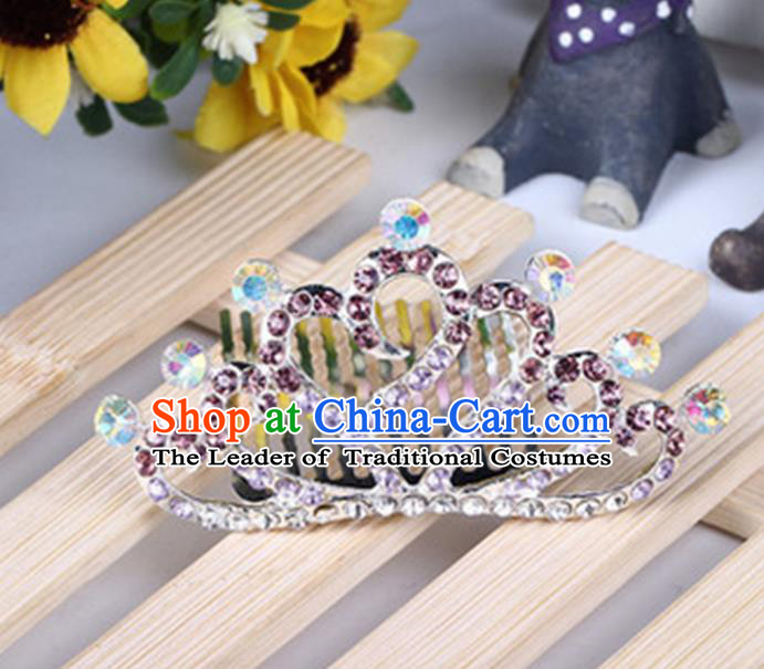 Top Grade Handmade Classical Hair Accessories, Children Baroque Style Purple Crystal Baby Princess Little Alloy Heart-shaped Royal Crown Twist Inserted Comb Hair Comb Jewellery for Kids Girls