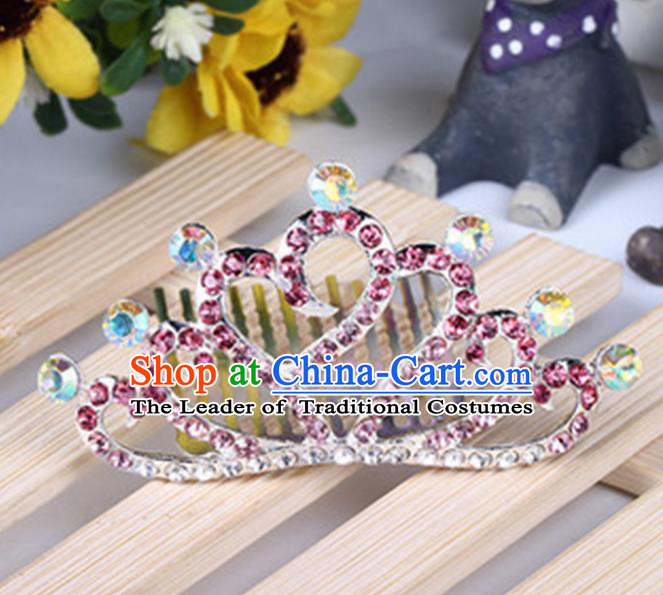 Top Grade Handmade Classical Hair Accessories, Children Baroque Style Pink Crystal Baby Princess Little Alloy Heart-shaped Royal Crown Twist Inserted Comb Hair Comb Jewellery for Kids Girls