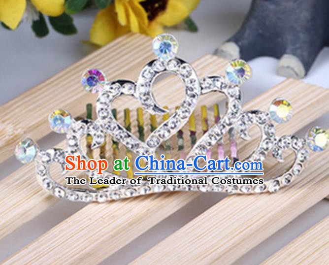 Top Grade Handmade Classical Hair Accessories, Children Baroque Style White Crystal Baby Princess Little Alloy Heart-shaped Royal Crown Twist Inserted Comb Hair Comb Jewellery for Kids Girls