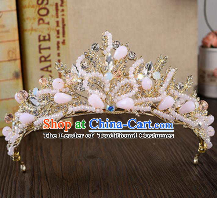 Top Grade Handmade Classical Hair Accessories, Children Baroque Style Beads Crystal Baby Princess Royal Crown Hair Clasp Jewellery for Kids Girls