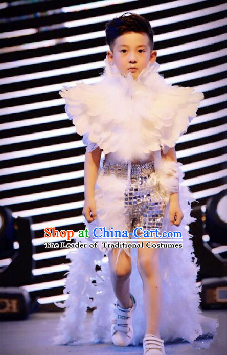 Top Grade Compere Professional Performance Catwalks Swimsuit Costume, Children Chorus White Feather Formal Dress Modern Dance Modern Fancywork Long Trailing Dress for Boys Kids