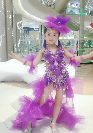 Top Grade Compere Professional Performance Catwalks Swimsuit Costume, Children Chorus Purple Formal Dress Modern Dance Modern Fancywork Long Trailing Dress for Girls Kids