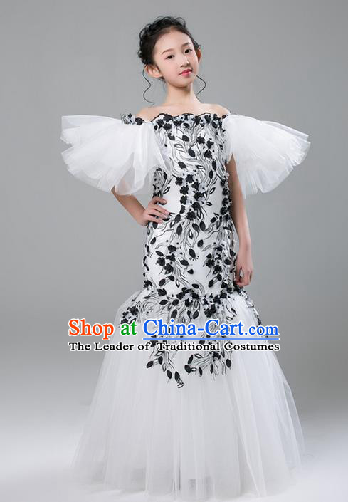 Top Grade Compere Professional Performance Catwalks Costume, Children Chorus White Fishtail Formal Dress Modern Dance Baby Princess Modern Fancywork Ball Gown Long Mermaid Dress for Girls Kids