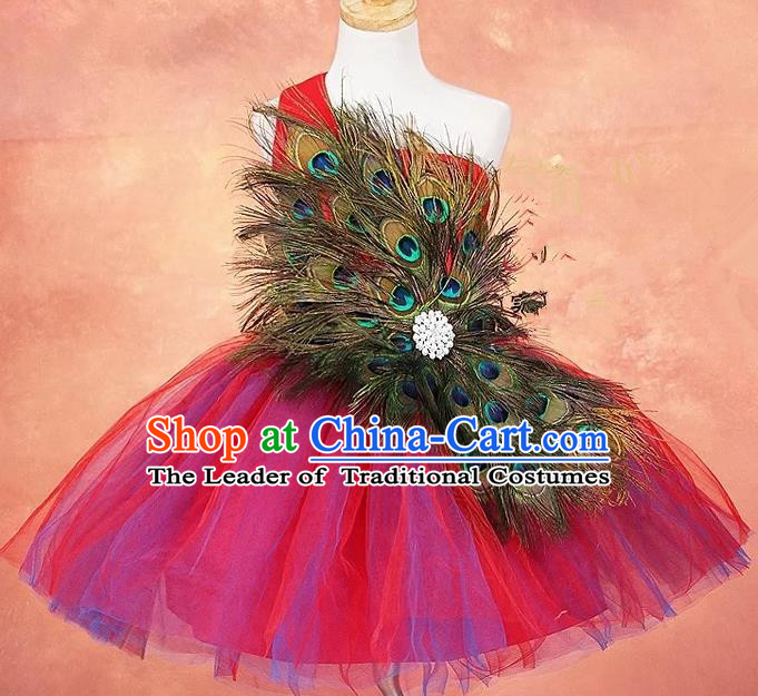 Top Grade Compere Professional Performance Catwalks Costume, Children Chorus Peacock Feathers Formal Dress Modern Dance Baby Princess Modern Fancywork Bubble Dress for Girls Kids