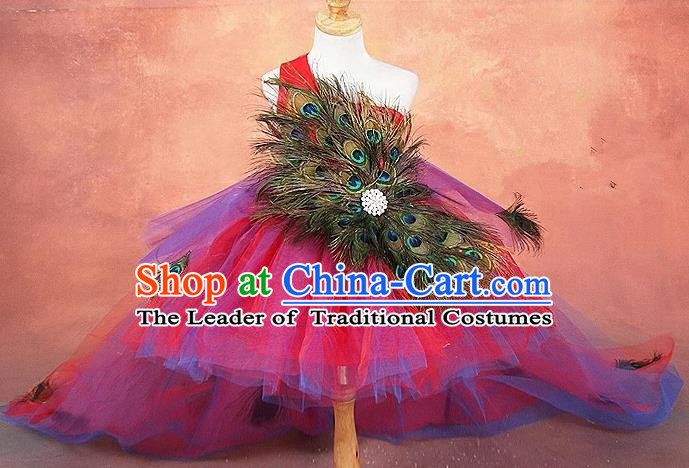 Top Grade Compere Professional Performance Catwalks Costume, Children Chorus Peacock Feathers Formal Dress Modern Dance Baby Princess Modern Fancywork Long Trailing Dress for Girls Kids