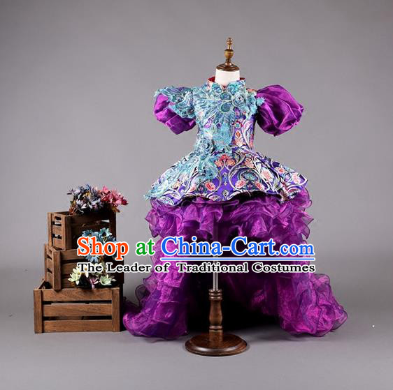 Top Grade Compere Professional Performance Catwalks Costume, China Tang Suit Cheongsam Children Chorus Formal Dress Modern Dance Baby Princess Modern Fancywork Long Trailing Dress for Girls Kids
